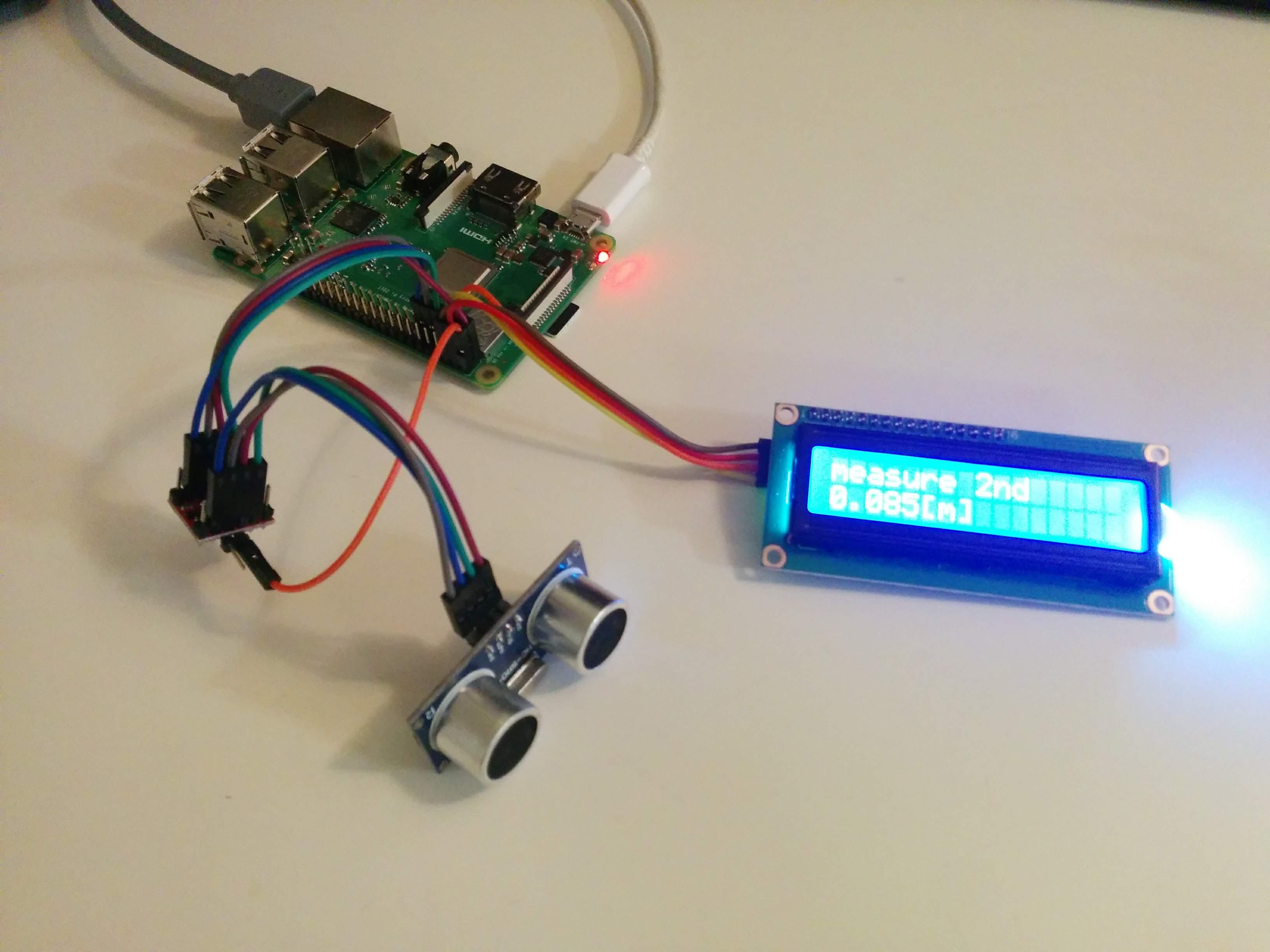 CGI Server control Ultrasonic Sensor and I2C LCD on